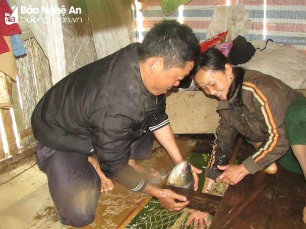 Mô hình nuôi cá lồng của gia đình chị Phạm Thị Vân ở thôn Tân Hòa, xã Bồng Khê (Con Cuông). Ảnh: Thăng Bình